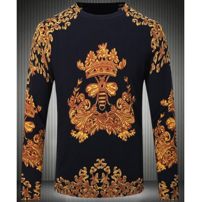Long Sleeves Pullover Round Collar Chinese Style Printing Sweater For Men