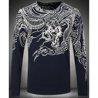 Slim Fit Long Sleeves Round Collar Pullover Dragon Pattern Printing Sweater For Men