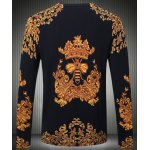 cheap Long Sleeves Round Collar Pullover Chinese Style Printing Sweater For Men