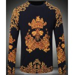 Long Sleeves Round Collar Pullover Chinese Style Printing Sweater For Men