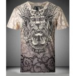 cheap Casaul Pullover V-Neck Printed Short Sleeves T-Shirt For Men