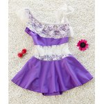 Stylish Spaghetti Strap Lace Spliced Girl's Cover Up