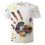 Round Neck Palm Pattern Letters Print  Short Sleeve Men's T-Shirt