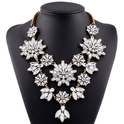 Graceful Faux Crystal Floral Hollow Out Necklace For Women