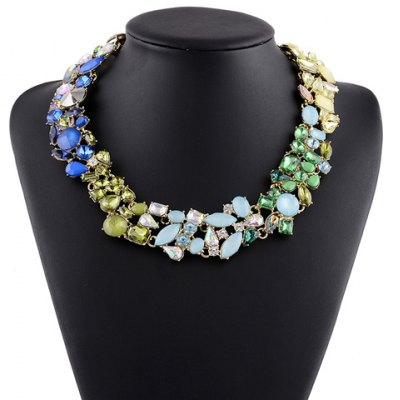 Graceful Alloy Faux Gem Water Drop Necklace For Women