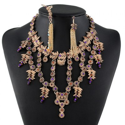 A Suit of Graceful Faux Gem Hollow Out Necklace and Earrings For Women