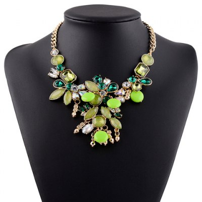 Faux Crystal Oval Water Drop Necklace