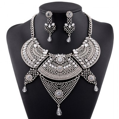 Vintage Faux Crystal Water Drop Geometric Necklace For Women