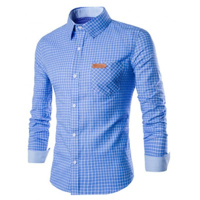 Long Sleeve Slimming Checked Cotton Shirt
