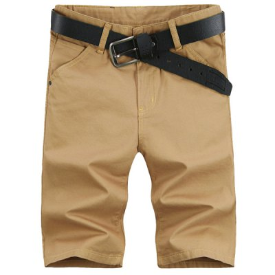Laconic Straight Leg Solid Color Zipper Fly Men's Shorts