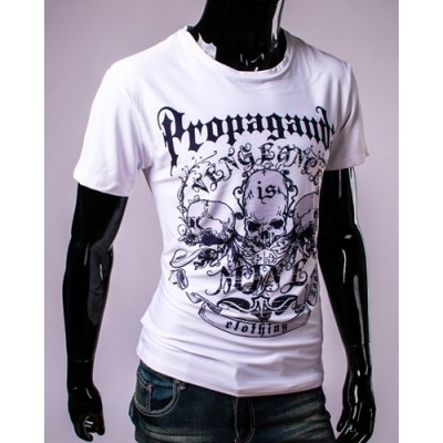 Letters and Skulls 3D Print Round Neck Short Sleeve T-Shirt For Men