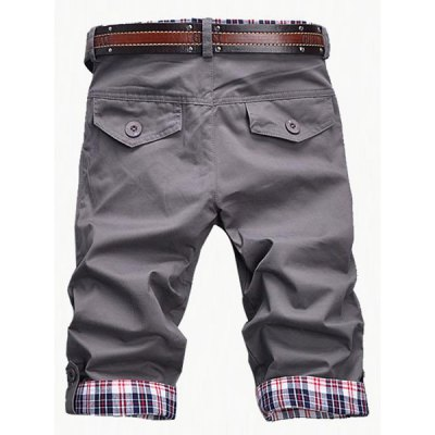 Fashion Plaid Cuff Zip Fly Shorts For Men