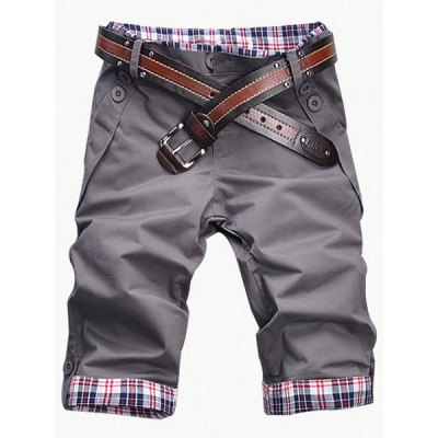 Plaid Cuff Zip Fly Shorts For Men