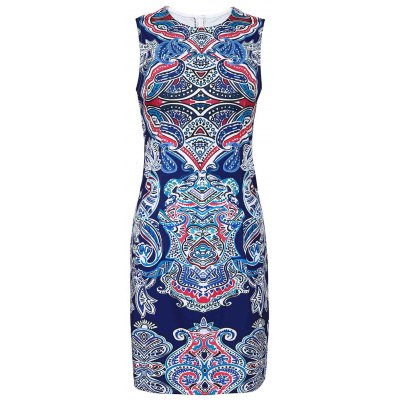 Retro Style Jewel Neck Sleeveless Colorful Printed Sheathy Prom Dress For Women