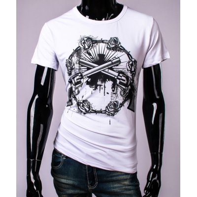 3D Guns and Roses Print Round Neck Short Sleeve T-Shirt For Men