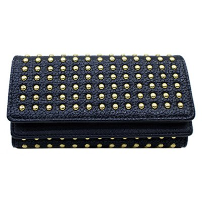 Trendy Rivets and Solid Color Design Wallet For Women