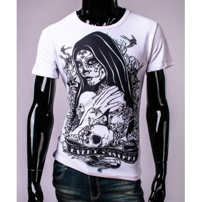 3D Tatto Girl and Skull Print Round Neck Short Sleeve T-Shirt For Men