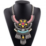 Graceful Rhinestone Water Drop Floral Bullet Necklace For Women