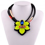 Noble Multilayered Faux Leather Artificial Gem Floral Necklace For Women