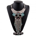Vintage Exaggerated Faux Turquoise Geometric Necklace For Women