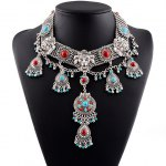 Vintage Exaggerated Faux Turquoise Lion Head Necklace For Women