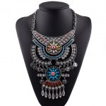Vintage Exaggerated Rhinestone Floral Coin Necklace For Women