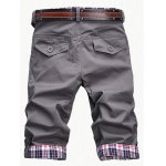 cheap Fashion Plaid Cuff Zip Fly Shorts For Men