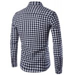 cheap Turn-Down Collar Long Sleeve Slimming Checked Button-Down Shirt For Men