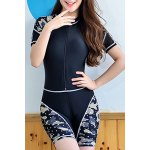 Chic Short Sleeves Camouflage Print Fitted Women's Diving Suit