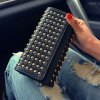 Trendy Rivets and Solid Color Design Wallet For Women deal