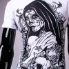 3D Tatto Girl and Skull Print Round Neck Short Sleeve T-Shirt For Men for sale