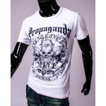Letters and Skulls 3D Print Round Neck Short Sleeve T-Shirt For Men deal