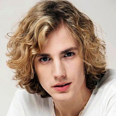 Handsome Short Side Bang Mixed Color Synthetic Fluffy Curly Capless Wig For Men