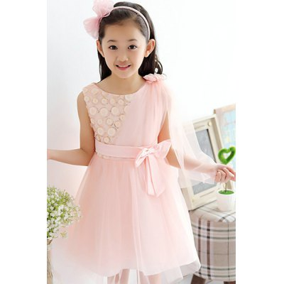 Sweet Sleeveless Bowknot Design Pure Color Dress For Girl