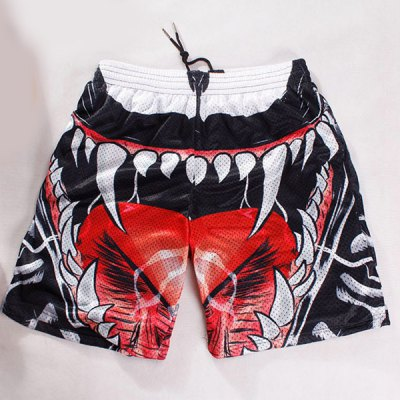 Straight Leg Breathable 3D Oral Cavity Pattern Drawstring Men's Board Shorts