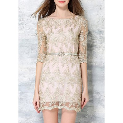 Slash Neck Half Sleeve Embroidered Lace Dress For Women