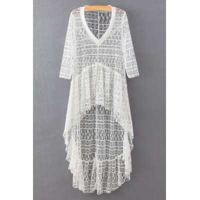 V-Neck 3/4 Sleeve High-Low Hem Lace Cover Up