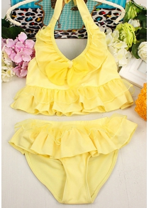 Cute Halter Pure Color Flounced Blouse + Briefs Girl's Two-Piece Swimwear