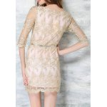 Charming Slash Neck Half Sleeve Embroidered Lace Dress For Women for sale