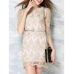 cheap Charming Slash Neck Half Sleeve Embroidered Lace Dress For Women