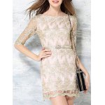 Charming Slash Neck Half Sleeve Embroidered Lace Dress For Women deal