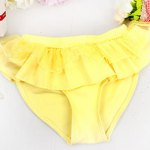 Cute Halter Pure Color Flounced Blouse + Briefs Girl's Two-Piece Swimwear for sale