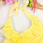 Cute Halter Pure Color Flounced Blouse + Briefs Girl's Two-Piece Swimwear deal