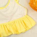 Cute Halter Pure Color Flounced Blouse + Briefs Girl's Two-Piece Swimwear photo