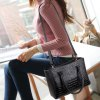 Buy Stylish Solid Color Embossing Design Tote Bag Women BLACK