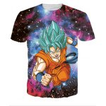 Colorful Round Neck 3D Cartoon Pattern Universe Short Sleeve Men's T-Shirt
