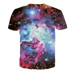 cheap Colorful Round Neck 3D Cartoon Pattern Universe Short Sleeve Men's T-Shirt