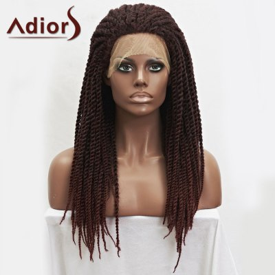 Dark Auburn Mixed Synthetic Fluffy Long Braided Lace Front Wig