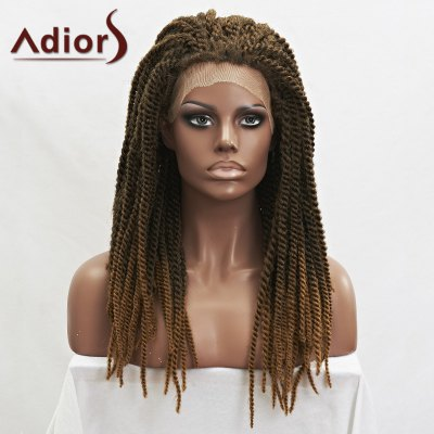 Long Synthetic Fluffy Handmade Braided Lace Front Wig