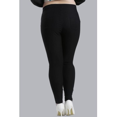 Casual High-Waisted Lace Embellished Plus Size Pants For WomenYoga<br>Casual High-Waisted Lace Embellished Plus Size Pants For Women<br><br>Style: Fashion<br>Length: Normal<br>Material: Cotton,Polyester<br>Fit Type: Skinny<br>Waist Type: High<br>Closure Type: Elastic Waist<br>Pattern Type: Solid<br>Pant Style: Pencil Pants<br>Weight: 0.570KG<br>Package Contents: 1 x Pants